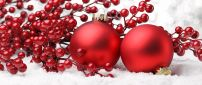 Red Christmas balls and red fruits - HD wallpaper