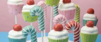 Delicious and sweet candies on the stick - Colorful desert