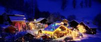 Small village decorated for Christmas night - Magic moments