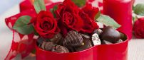 Chocolate box and red roses - Happy Valentines Day