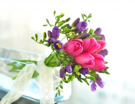 Bouquet with pink and purple tulips - Special flowers
