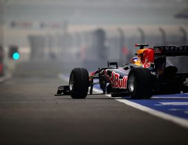 Red Bull sponsor for Formula 1 team  - Race car on the road