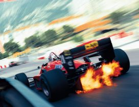 Super speed on the race - Fire from the wheels Formula 1