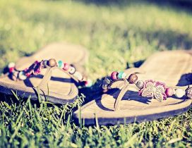 Summer shoes in the green grass - Perfect walk