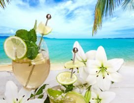 Lime and mint cocktail and white flowers - Happy summer day