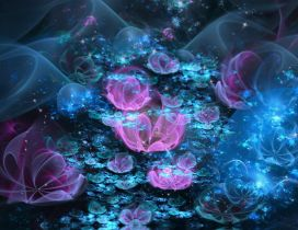 Pink and blue flowers - Abstract wallpaper