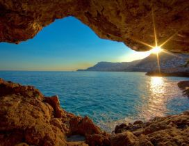 Wonderful sunrise over the blue ocean water -Nature is magic