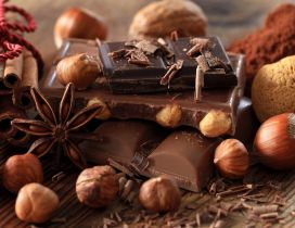 Piece of chocolates cinnamon and peanuts - Sweet wallpaper