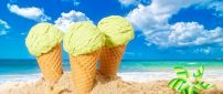 Mint icre cream and beautiful summer holiday at the beach