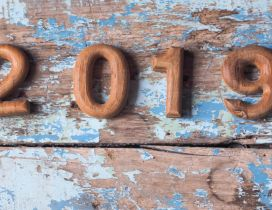 Happy New Year 2019 - Old wooden table