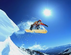 Wonderful salt with snowboard - Mountain winter sports