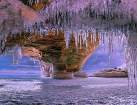 Icicles in cave - World magic phenomenons in winter season