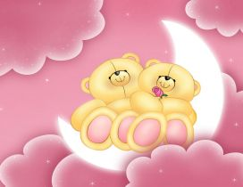 Love is in the air - Two bears stay on moon- Valentine's Day