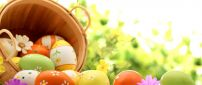 Wonderful painted Easter eggs in a basket - Spring Holiday