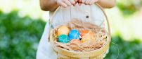 Easter eggs in a basket - Happy Spring Holiday