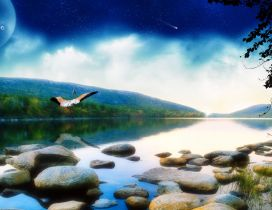 Abstract summer wallpaper - rocks in the river and big moon