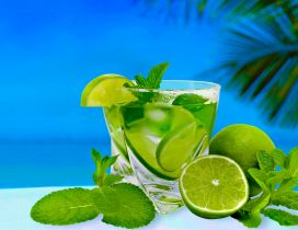 Fresh summer drink - Lemonade with limes and mint