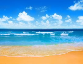 Brown sand and blue water - Summer holiday