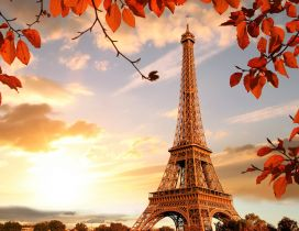 Paris the city of love - Beautiful sunrise in Autumn season