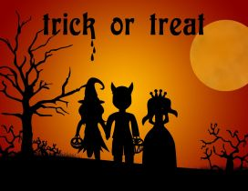 Three little children Trick or treat Halloween party night