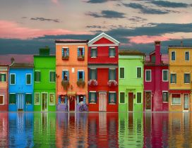 Colourful houses - Abstract town architecture