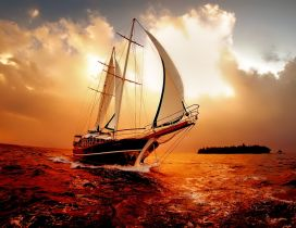 Wonderful nature moments on the ocean - Red sky and water