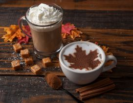 Autumn cinnamon leaf in a cup of hot coffee - Delicious time