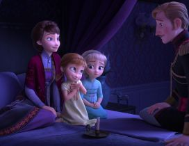 Frozen 2 scene - Anna and Elsa with parents