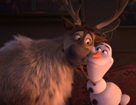 Best friends Olaf and Reindeer from Frozen the kids movie