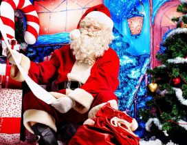Santa Claus and the big list with gifts for children