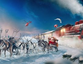 Santa Claus and reindeers travel with train - Gift night