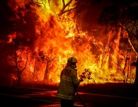 Fireman do his job - Stop the fire from Australia continent