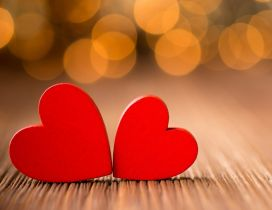 Soulmates - Two red wooden hearts - Happy Valentines Day