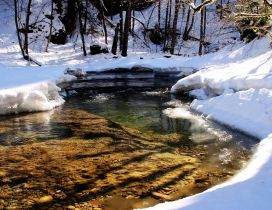 Cold mountain river in endless winter - HD nature wallpaper