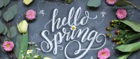 Hello Spring write on blackboard at school - Flowers time