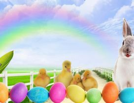 Wallpaper with bunny and coloured eggs - Easter spring