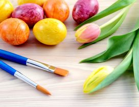 Wonderful colors on Easter eggs - Tulips flowers