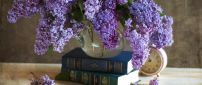 Time books and Lilac flowers-Recipe for a perfect spring day