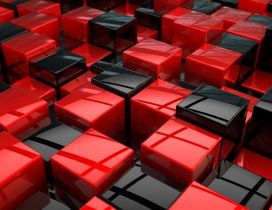 Black and red 3D boxes on the wall - HD wallpaper