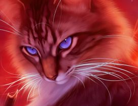 Blue cat eyes - Digital art design computer - Domestic cat