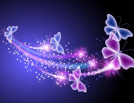 Pink and purple flying butterflies - Digital art design