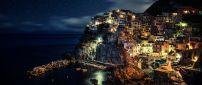 Night in romantic city from Italy - Lights on the coast