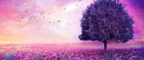 Wonderful pink nature- Birds on the sky magic romantic field