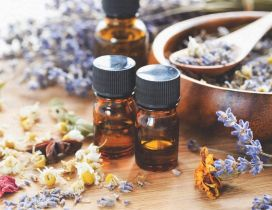Amber glass bottle of essential oils - Aromatherapy Lavender