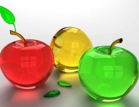 Three crystal colorful apples - Red Yellow Green