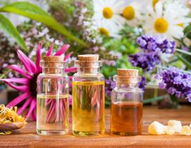 Three glass bottle with flowers oils - Lavender perfume