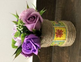 Wonderful soap flowers on a handmade recyclable box
