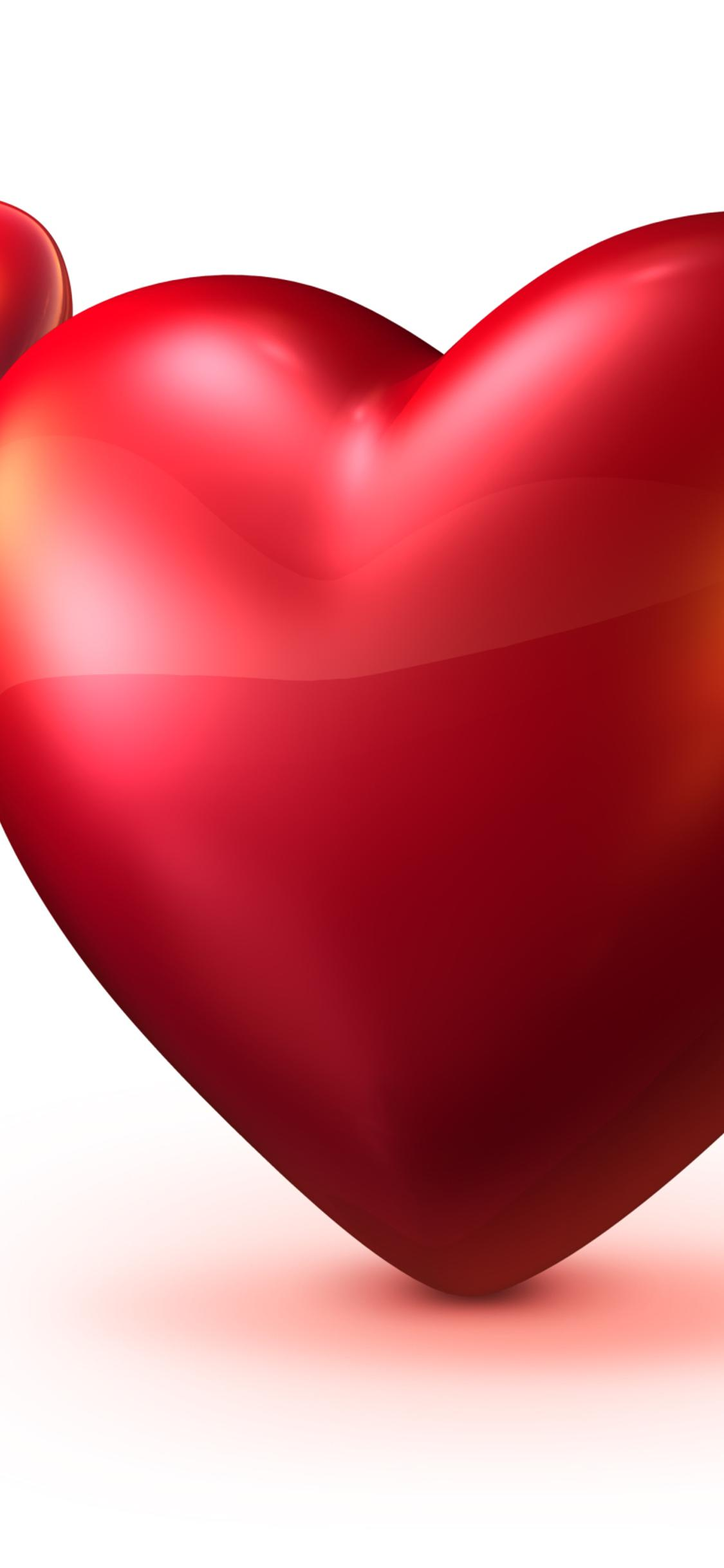 Two Red Hearts 3d Hd Love Wallpaper