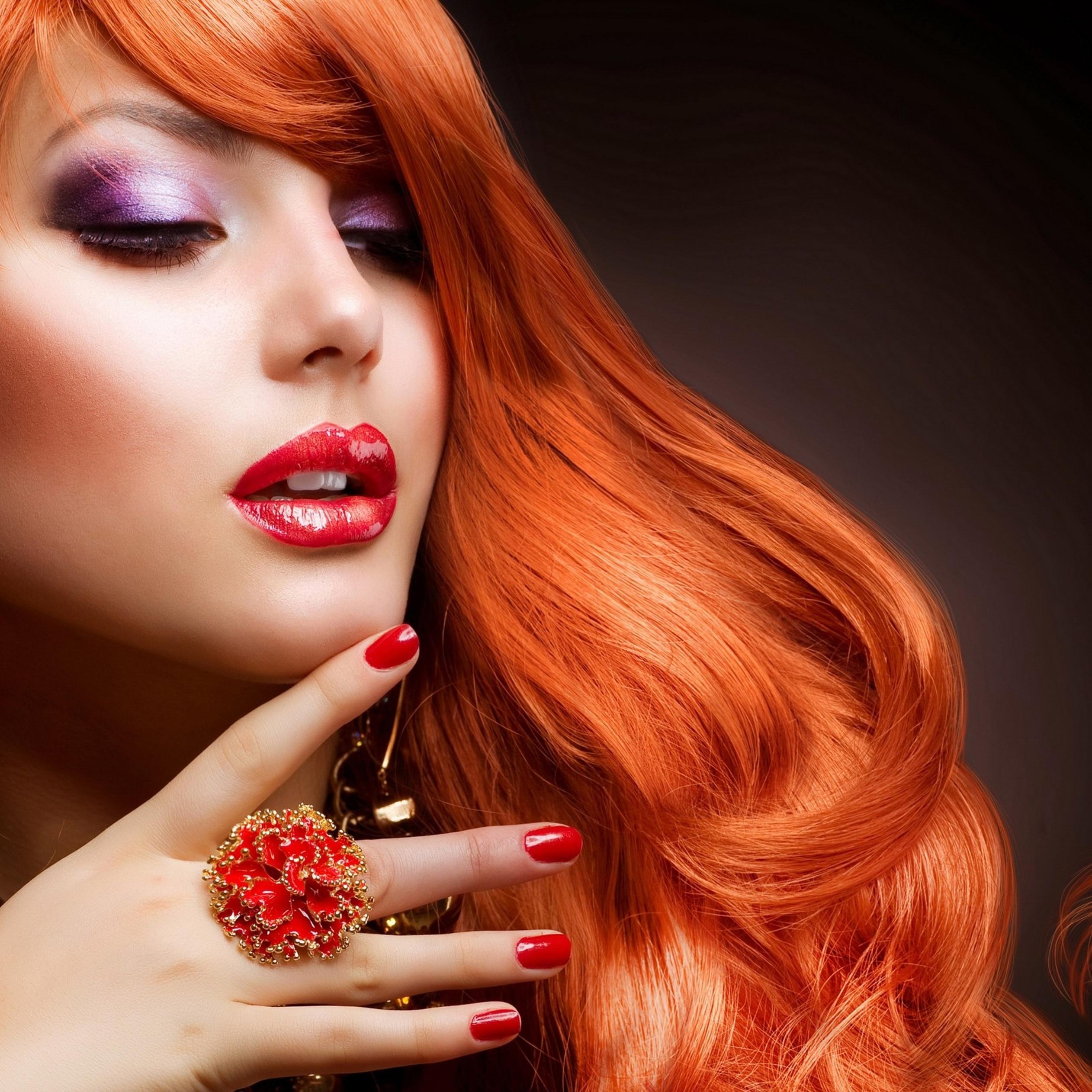 Hot Orange Hair And Beautiful Makeup Hd Wallpaper