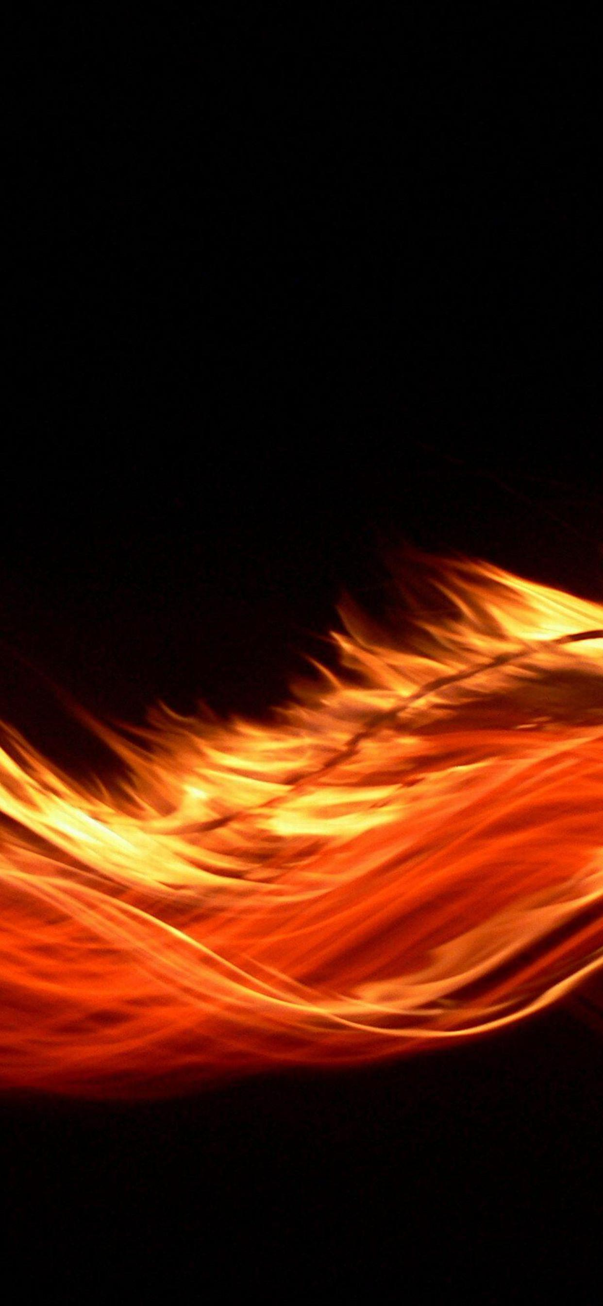 Orange Fire On A Dark Background Hd Wallpaper